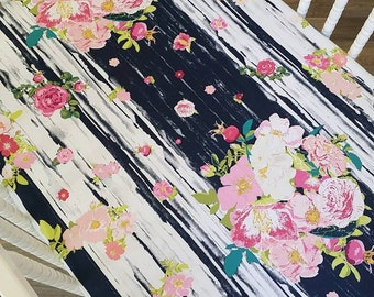 Floral Crib Sheet- Fitted Crib Sheet-MADE TO ORDER- Girl Crib Sheet