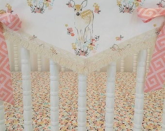MADE to ORDER- BUMPERLESS Crib Bedding- Fawn Baby Bedding--Deer Girl Baby Bedding