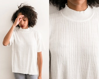 Ribbed White Mock Neck Sweater / XL 90s grunge Womens High Neck Turtleneck Blouse / Extra Large Sweater Top Cable knit Shirt Short Sleeve