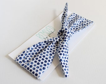 Indigo Watercolor Polka Dots Head Scarf - Headband