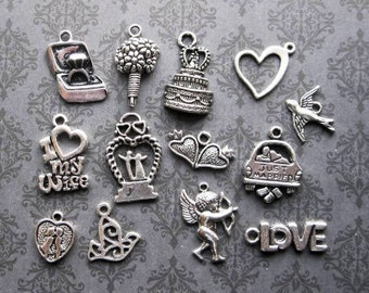 13 Wedding Charms in Silver Tone - C2287