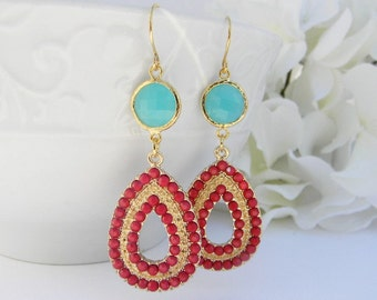 Turquoise and Red Statement Earrings. Turquoise Earrings. Dangle Earrings. Gold Earrings. Bold Summer Statement Earrings. Gift For Her