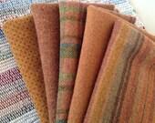 Pumpkin Harvest, Wool Fabric for Rug Hooking and Applique, 5) pcs, Select-a-size, W138, Orange, Rust, Golden Pumpkin