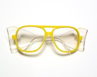 vintage 80s 90s yellow aviator glasses safety goggle yellow plastic eyeglasses hip hop street style festival club kid