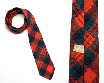 vintage 60s skinny plaid tie vintage men necktie 1960 Scottish tartan wool tie preppy trad tie hand woven Scotland red blue green