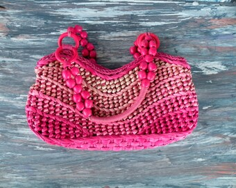 Spring Summer Purse- Hot Pink- Straw Beaded Hand Bag Handbag- Sun nSand Collection