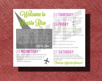 Wedding Weekend Itinerary, Puerto Rico Destination Wedding Welcome Note and Wedding Weekend Itinerary