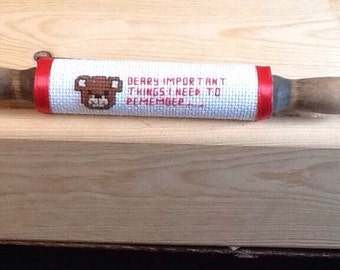 Counted cross stitch berry important things to remember rolling pin magnet