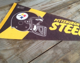 Football Pennant Vintage 1970's 1980's Pittsburgh Steelers