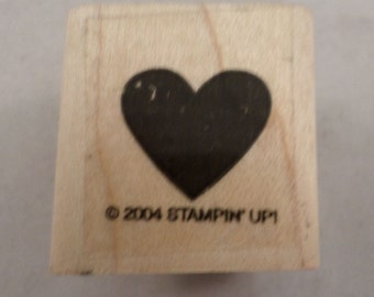 2004 Stampin Up Love And Romance Valentine Heart  Wooden Rubber Stamp