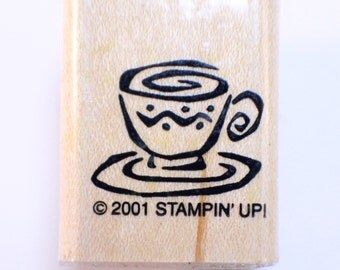 Stampin Up 2001 Coffee Cup Wooden Rubber Stamp