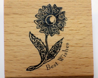 Best Wishes Whimsical Garden Flower  Wooden Rubber Stamp
