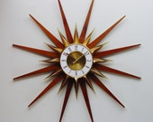 Starburst Wall Clock 1970s by Elgin - Mid Century Modern Sunburst Hanging Wall Clock, Atomic Design. Refurbished