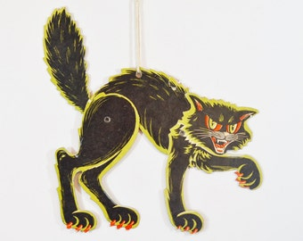 Vintage Beistle Jointed Black Halloween Cat Cardboard Party Decoration Black Orange Green Co. Hanging Decoration Scary Hissing Kitty