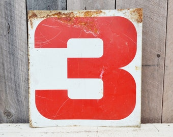 Vintage Metal Numbers 1 & 3 One Three Gas Station Sign Red White Service Station Double Sided Industrial Garage