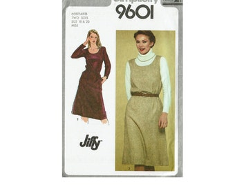 80s Jiffy Pullover Dress or Jumper UNCUT Sewing Pattern Size 16 Bust 38 or 18-20 Bust 40-42 Simplicity 9601 Sleeveless Dress long sleeves