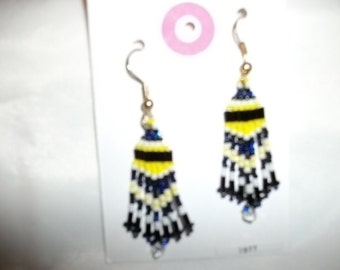 Blue Yellow Black N White Earrings