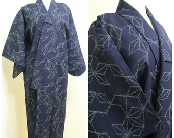 Japanese Vintage Kimono. Textured Weave Navy Blue Geometric Star Robe (Ref: 1151)