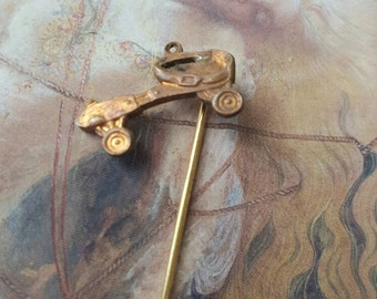 Vintage Brass Antique Rollerskate Stick Pin