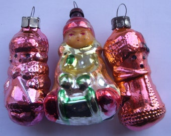 1950 BOY on а SLEIGH Old Russian USSR Glass Vintage Tree Christmas 3 Ornaments!!