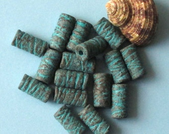 5 x Long textured tube green patina clay beads