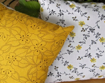 Yellow Black Flowers Small Travel Decorative Pillow