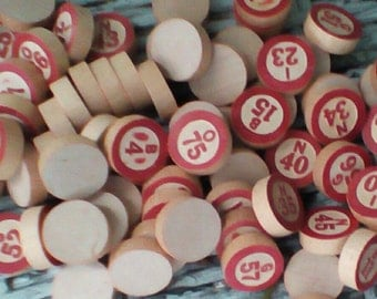 Vintage Wood Lotto/Bingo Numbers.  Replacement Pieces or for Craft or Art Projects.  Y-050