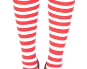 Stripy Over The knees Christmas socks with bows, Red and white candy stripe,