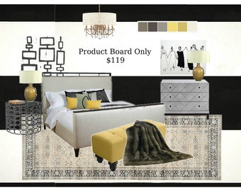 Bedroom Decor | Custom 4 Your Space | E Design | Bedroom Furniture | Bedroom Art | Bedroom Curtains | 1 Room Product Board | Bedroom Lights