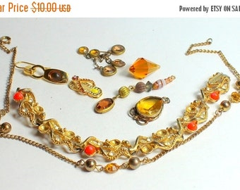 MOVING SALE Half Off Shades of Orange and Brown Vintage and Salvaged Colorful Rhinestone Jewelry Parts and Pieces for Repurposing