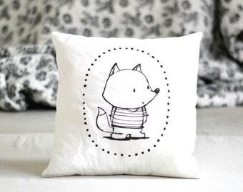 Stuffed pillow with fox Decorative pillow Animal pillow Nursery decor Illustrated cushion Black white Scandinavian style