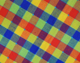 Vintage 1970s unused woven quilt cotton fabric with multicolor checkered pattern