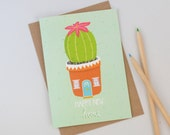 Cactus New Home Card, SALE, Cute Succulent Greetings Card, Plant Pot Illustration, New House Card, Alternative Home Card, Cards for Couples