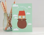 SALE Beard New Home Card, Hipster New House Card, Cards for Men, Alternative Home Cards, Cards for Hipsters, Quirky Illustrated Beard Gifts