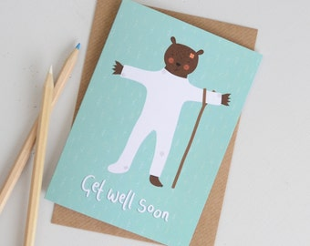 SALE Get Well Soon Card, Sorry You're Ill Greetings Card, Bear Card, Get Well Card, Sorry Card, Hand Lettered Card, Bear Illustration