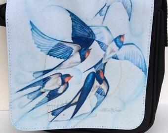 Skull and bluebird- 'Release' cross body bag