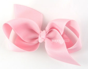 NEW STYLE - Loopy Pinwheel Hair Bow - Light Pink Hairbow 3.5 Inch Solid Color Boutique Bow for Baby Toddler Girls 1.5 Inch Wide Ribbon