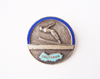 Ski Jumper California Pin Nordic Winter Sports 1930s Vintage 1930s Souvenir Brooch Silver Tone Metal w/ Blue Enamel brooch Made in France