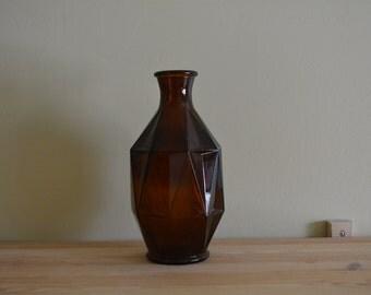 Amber Glass Geometric Vase Bottle