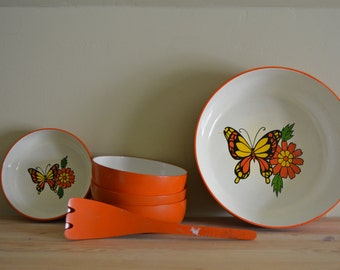 Butterflies Serving Bowls and Tong Set