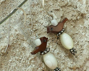Shell Birds with Mother of Pearl Bead Earrings