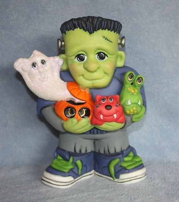 RESERVED FOR KAREN - Handpainted Ceramic Frankenstein Jr and all of his little Monster Friends