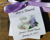 Personalized  Dainty Lilacs Floral Teacup Tea Party Favors perfect Bridal Shower Favors Wedding Shower ~ Lavender Tea cup Tea Bag Holders