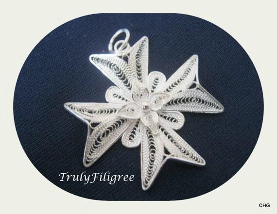 Handmade Sterling Silver Maltese Cross Filigree Pendant 3.50cm