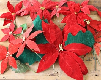 Vintage flocked paper poinsettias - 14 red poinsettias - three different styles - retro Christmas flower decor