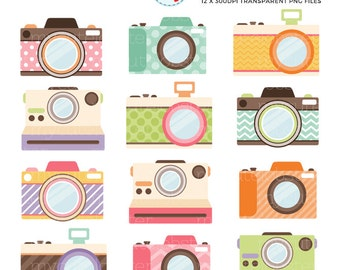 Cute Cameras Clipart Set - clip art set of cameras, photography, photograph, camera - personal use, small commercial use, instant download