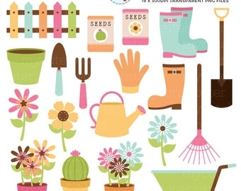 Gardening Clipart Set - garden, flowers, clip art, wheelbarrow, rake, boots, seeds - personal use, small commercial use, instant download
