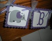 Girl Baby Banner, Baby Girl Elephant Banner, Baby Shower Banner, Elephant Purple and Gray Baby Banner, Matching Tissue Poms Are Available