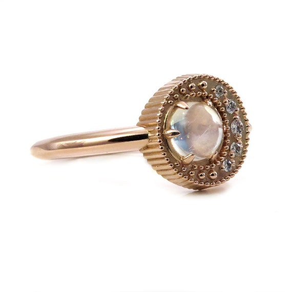 Mini Moon Ring - Moonstone with a Diamond Crescent Moon - Delicate Rose Gold Engagement Ring