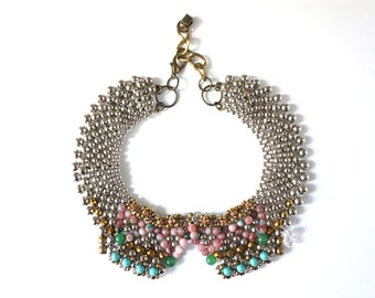beaded rhinestone collar necklace